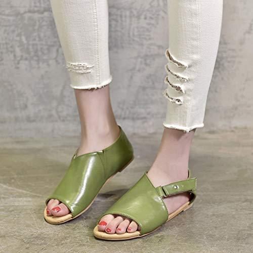 Verde Estate Ragazza 2019 Shoes Peep Vintage Spiaggia Ciabatte toe Women Pantofola Casual Sandals Donna Donne Ihengh ZFCqBnx