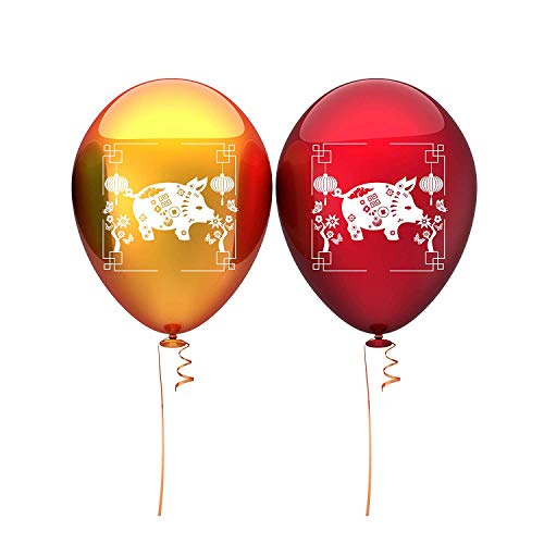 Chinese New Year Balloons - 2 Metallic Colors Gold & Red - Party Decoration - 40 Latex Balloons - with Fun Festive Print - Celebrate 2019 Year of The Earth Dog with Chinese Friends & Family -
