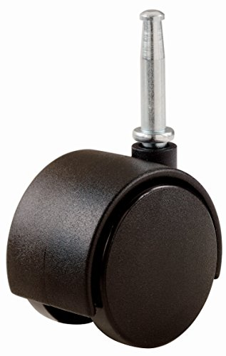 Shepherd Hardware 9418 2-Inch Office Chair Caster, Twin Wheel, 5/16-Inch Stem Diameter, 75-lb Load Capacity, 2-Pack, Black