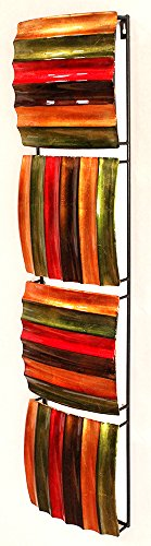 Heather Ann Creations Large 4 Wavy Square Panel Modern Metal Hanging Wall Sculpture, 33.1