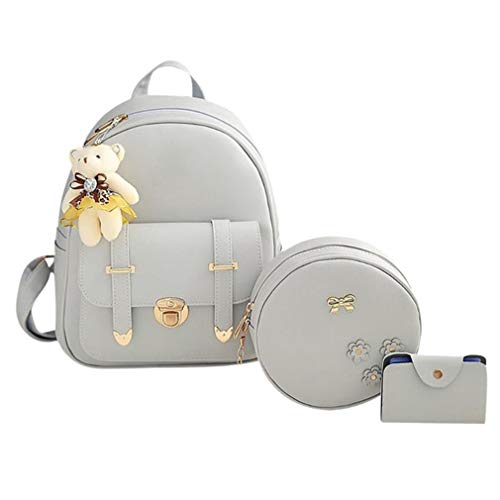 Backpack 3Pcs Women 02 Bag 01 Pu School Leather OP7qwPv