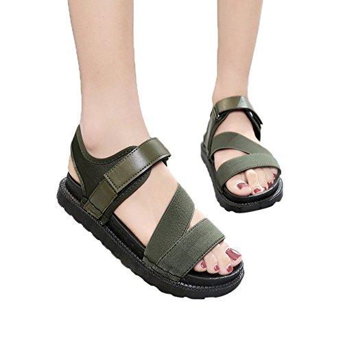 Casuale Sandali Gladiatore Verde Flat Donna Scarpe Confortevole Estate Occasioni Moda xWZwvnnYa