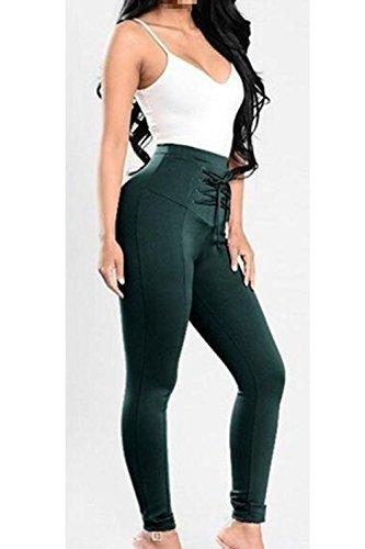 Darkgreen Pantalons Haute Jambires Les Cravate Pansement Mince Pantalon Taille R1qdxwd8F