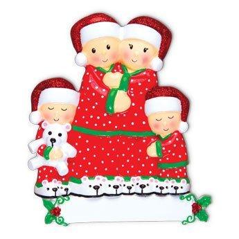 Pajama Family of 4 Personalized Christmas Tree Ornament