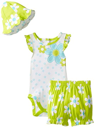 Gerber Baby-Girls Newborn 3 Piece Bloomer Set Bodysuit Bloomers and Hat Daisy, Lime Green, 12 Months