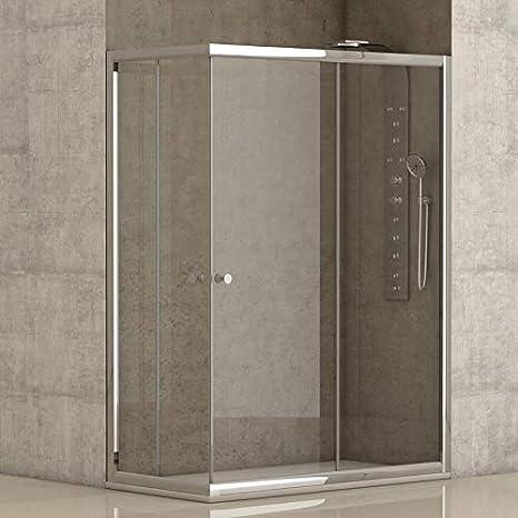 Mampara de ducha angular 2 hojas fijas + 2 hojas correderas con cristal transparente templado de seguridad de 4mm modelo Bricodomo Catalonia 80x80 (Adaptable 79-80cm a 79-80cm): Amazon.es: Bricolaje y herramientas