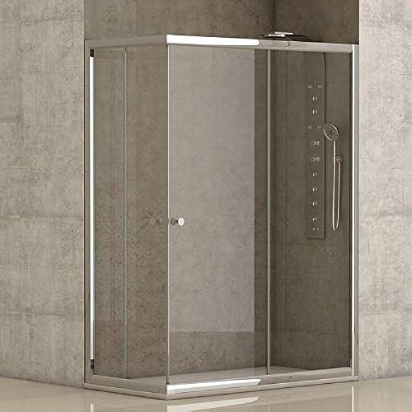Mampara de ducha angular 2 hojas fijas + 2 hojas correderas con cristal transparente templado de seguridad de 4mm modelo Bricodomo Catalonia 80x120 (Adaptable 79-80cm a 119-120cm): Amazon.es: Bricolaje y herramientas