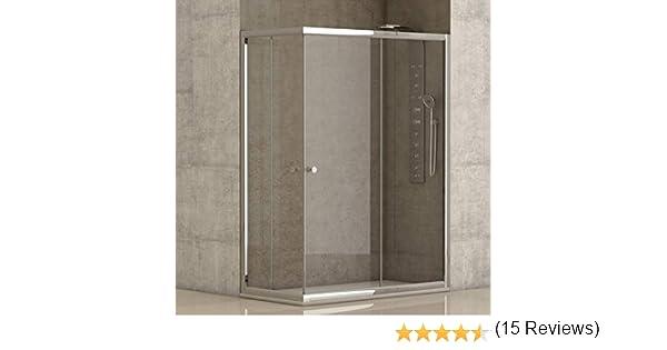 Mampara de ducha angular 2 hojas fijas + 2 hojas correderas con cristal transparente templado de seguridad de 4mm modelo Bricodomo Catalonia 90x90 (Adaptable 89-90cm a 89-90cm): Amazon.es: Bricolaje y herramientas