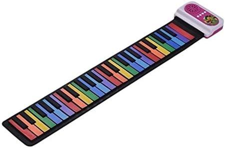 ミュージカルおもちゃ 49キーポータブルロールアップピアノシリコン電子キーボードカラフルなキーが内蔵スピーカー音楽玩具教育音楽玩具 多機能の子供の音楽玩具 (色 : ピンク, Size : Ones)