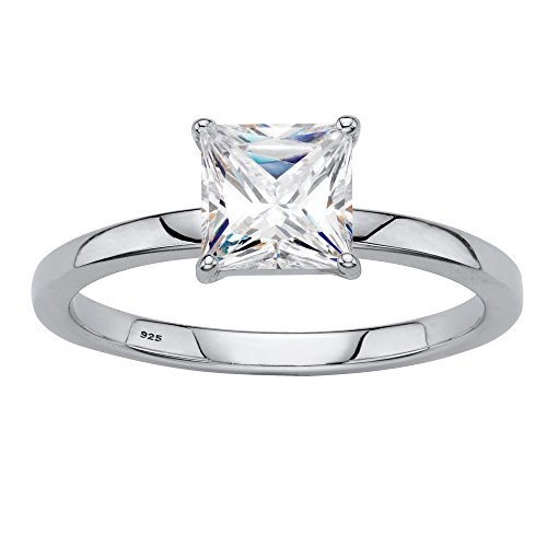 Platinum over Sterling Silver Princess Cut Simulated White Sapphire Solitaire Engagement Ring Size 8