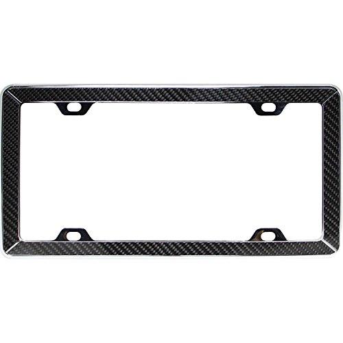 (Pilot-Automotive Front License Frame, Carbon Fiber On Chrome Metal Decorative License Plate Frame)