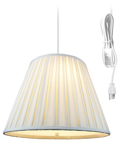 2 Light Plug In Pendant Light By Home Concept- Hanging Swag Lamp Empire Box Pleated Shantung Egg Shell with Diffuser - Perfect for apartments, dorms, no wiring needed (Egg Shell, White two light) Brass Pleat Shade Plug