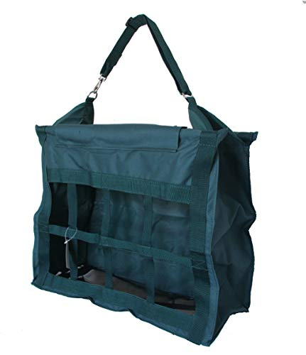 (AJ Tack Wholesale Large Horse Stable Hay Bag Tote Front Divider Top Load Heavy Duty Canvas Green)