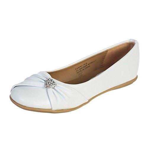 Lito White Rhinestone Heart Girls Flat Dress Shoes 4