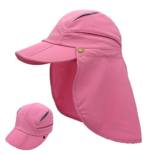 LLmoway Women Sun Protection Fishing Cap with Neck Flaps Lightweight Quick Dry Mesh Running Cap Pink
