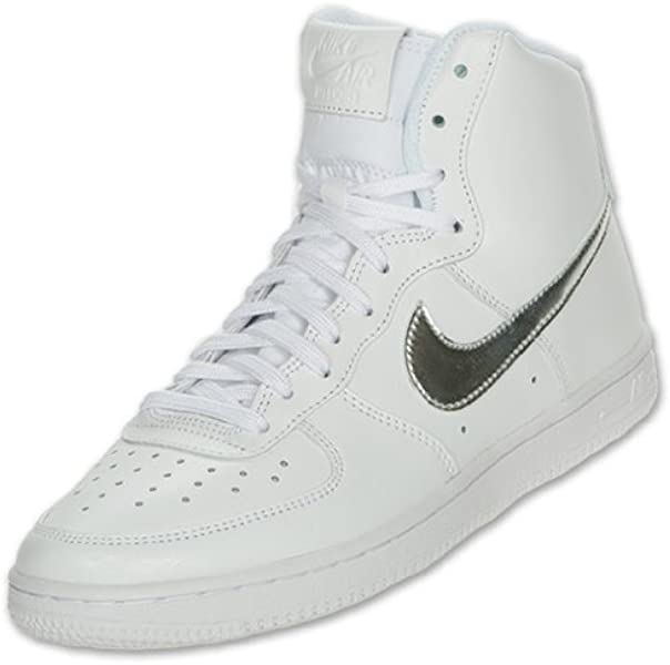 Nike Air Force 1 High Women s Casual Shoes (11) White metallic silver 85dd5af62