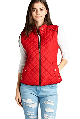 Active USA Quilted Padding Vest With Suede Piping Details Sizes from S to 3XL (Red-Small)