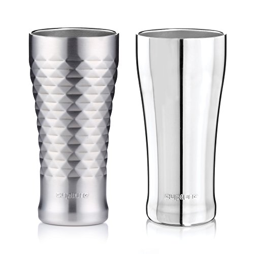 Cupture Double Walled Vacuum Insulated Pint Cup/Beer Mug - 16 oz (Chrome + Quilted)