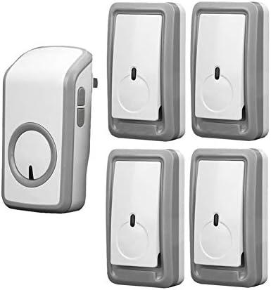 ミニIP44防水ワイヤレスドアベル、1150フィート/ 350 Mロングレンジドアチャイムキット、4プッシュボタンと1レシーバー、48着信音、6ボリュームレベル、LEDインジケーター