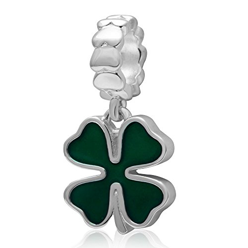 Dangle Charms Shamrock Lucky Green Four Leaf Clover Charm 925 Sterling Silver Heart Love European Style