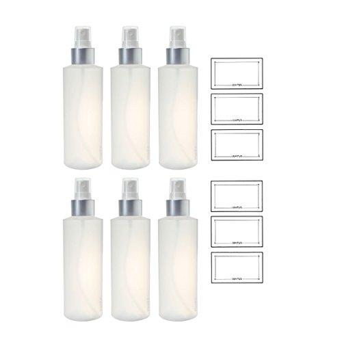 Clear Natural Refillable Plastic Squeeze Bottle with Silver Fine Mist Sprayer - 6 oz (6 Pack) + Labels Toner 6 Oz Bottle