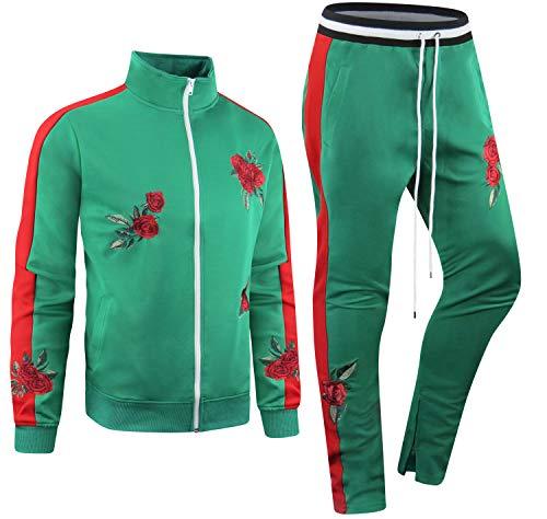 ALMAS APPAREL New Men Stripe Zip Pocket Track Pants Sweatsuit Track Suit Zipper Joggers (Medium, Green-875)