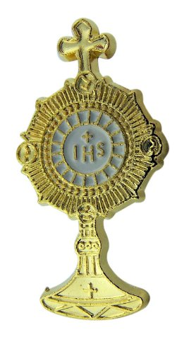 Gold Toned and White Enamel IHS Monstrance with Cross Top Carded Lapel Pin, 1 1/2 Inch ()
