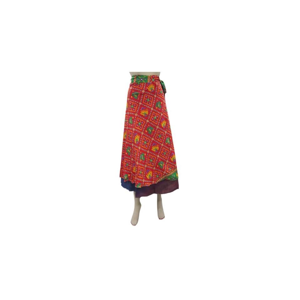 Wrap Skirt Sari Red Blue Printed Reversible Long Wrap Around Skirts