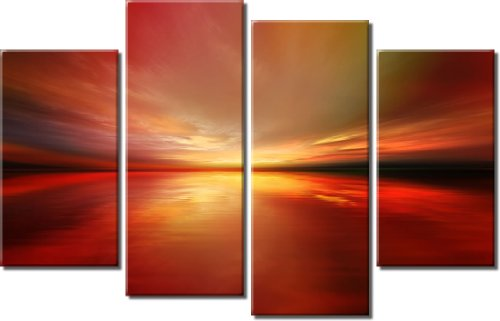 Picture Sensations Framed Huge 4-Panel Abstract Digital Art Ocean Horizon Blaze Giclee Canvas Print by Picture Sensations