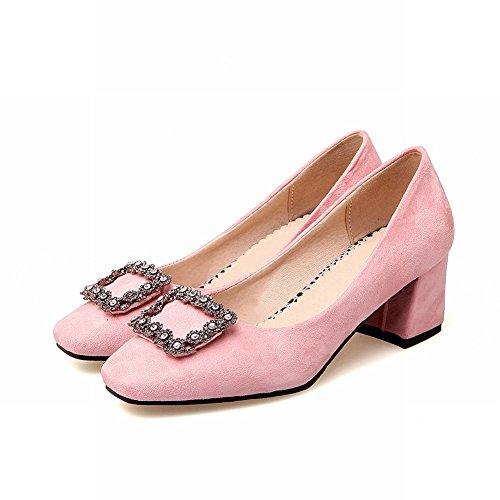 MissSaSa Damen Chunky heel geschlossen vierkant Spitze Pumps mit Strass Pink