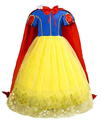 Le SSara Meisjes Prinses Sneeuwwit Kostuum Fancy Fairy Dressing Up Cosplay Jurk met Cape