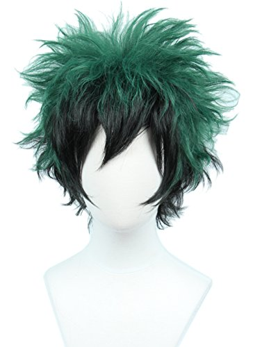 Linfairy Anime Cosplay Wig Short Black Green Halloween Costume Curly Wig]()