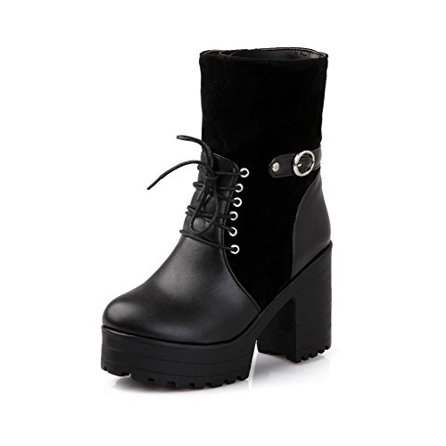 AllhqFashion Damen Blend-Materialien Gemischte Farbe Reißverschluss Hoher Absatz Stiefel Schwarz