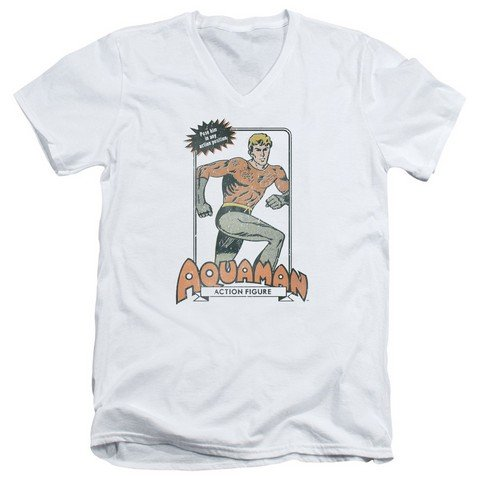 Trevco Dc-Am Action Figure - Short Sleeve Adult 30-1 Tee V-Neck - White, 2X