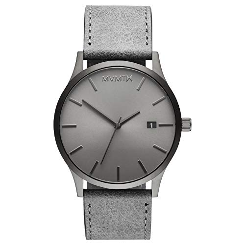 MVMT Classic Watches | 45 MM Men's Analog Minimalist Watch | Leather Wristband (Monochrome)