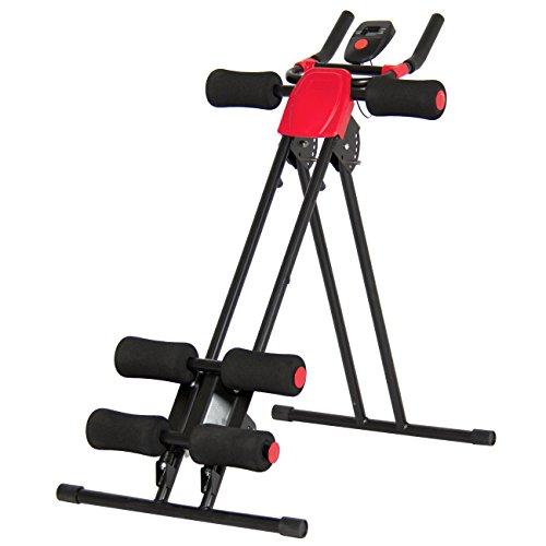 Best Choice Products Adjustable Abdominal Trainer Core Ab Cruncher W/LCD Display- Red/Black