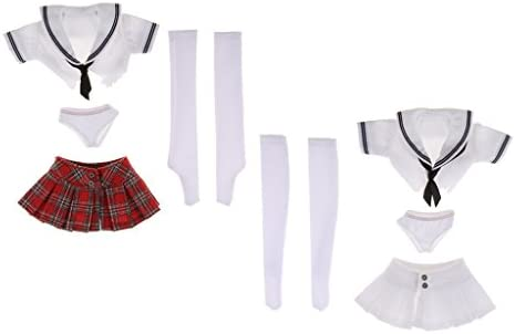 MagiDeal 2 Sets de Escala 1/6 Uniforme de Estudiante Camiseta Minifalda Medias Calzoncillos para 12 Pulgadas Figura Femenina: Amazon.es: Juguetes y juegos