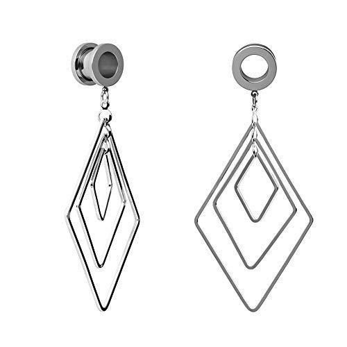 TBOSEN 2pcs Fashion Womens Dangle Plugs and Tunnels for Ear Diamond-Shape Drop ()