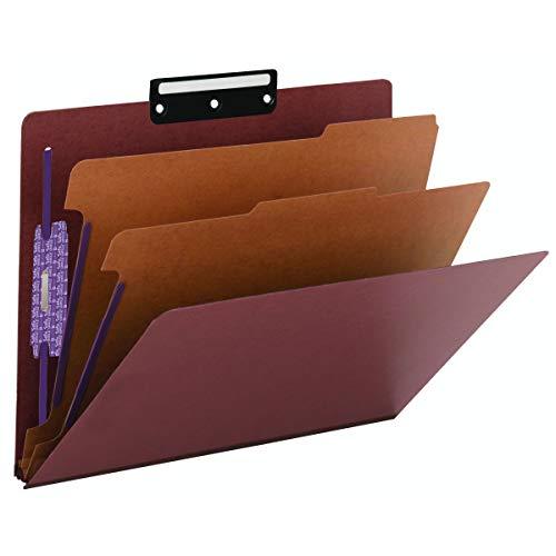 Tab Metal Cut Folders Classification - Smead Pressboard Classification Folder with SafeSHIELD Fasteners, 1/3-Cut Flat Metal Tab, 2 Dividers, 2