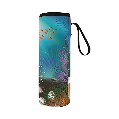 Silly Meow Underwater World Card With Seashell And Custom 2.75 Oz Neoprene Water Bottle Sleeve (Large Size)