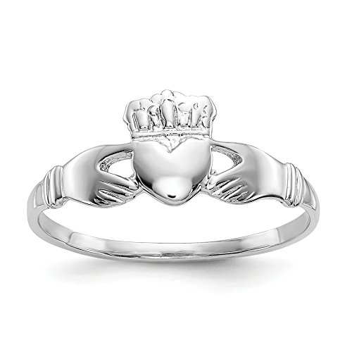 14k White Gold Ladies Irish Claddagh Celtic Knot Band Ring Size 6.00 Fine Jewelry Gifts For Women For Her ()