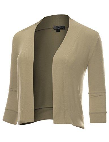 BIADANI Women Classic 3/4 Sleeve Crop Cardigan Stone Large