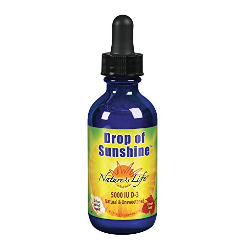 Nature's Life Drop of Sunshine Vitamin D-3 Drops in Organic Extra Virgin Olive Oil & Coconut Oil 5000IU | Supports Strong Bones & Immune System | 2 oz