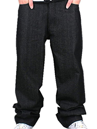 YY-Rui Men's Boy Baggy Loose Fit Hip Hop Black Denim Long Casual Pants Jeans 34 - Black Jean Style Pant