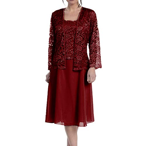 Two-Piece New Plus Size Dress, QIQIU Women's Elegant Chiffon Lace Patchwork Long Sleeve Solid Loose Hem Casual Dres Wine]()