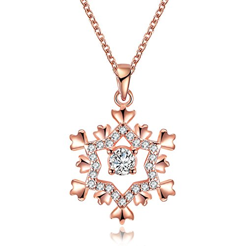 18K Rose Gold Plated Cubic Zirconia Snowflake Pendant Necklace for Women Girls CZ Jewelry Fashion Necklaces