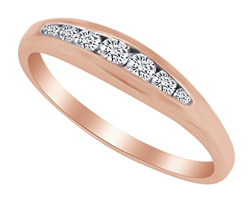 AFFY White Natural Diamond Seven Stone Anniversary Band Ring in 14k Rose Gold (0.2 Ct) Ring Size - 5