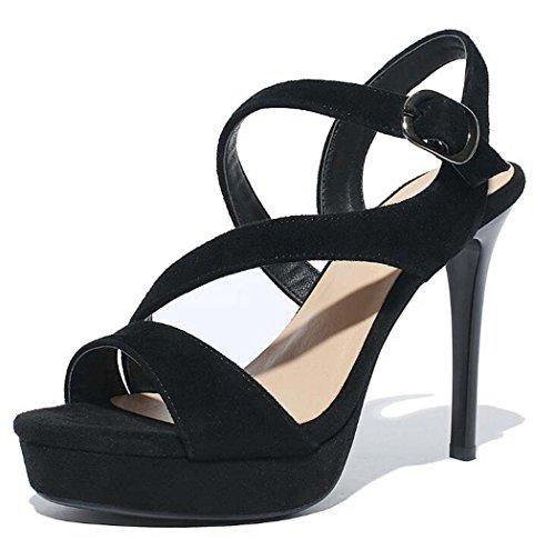 Negro O 34 Sandalias Las Talla negro Bien Sper Mujeres 39 Beige Plataforma De Con Tacones Moda Tama Altos Hebilla color 34 TH6fw
