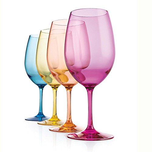 (Indoor/Outdoor Mixed Color Wine Glasses -Set of)