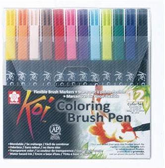 Sakura KOI Coloring Brush Set 12 - Pack de 12 rotuladores, Punta pincel